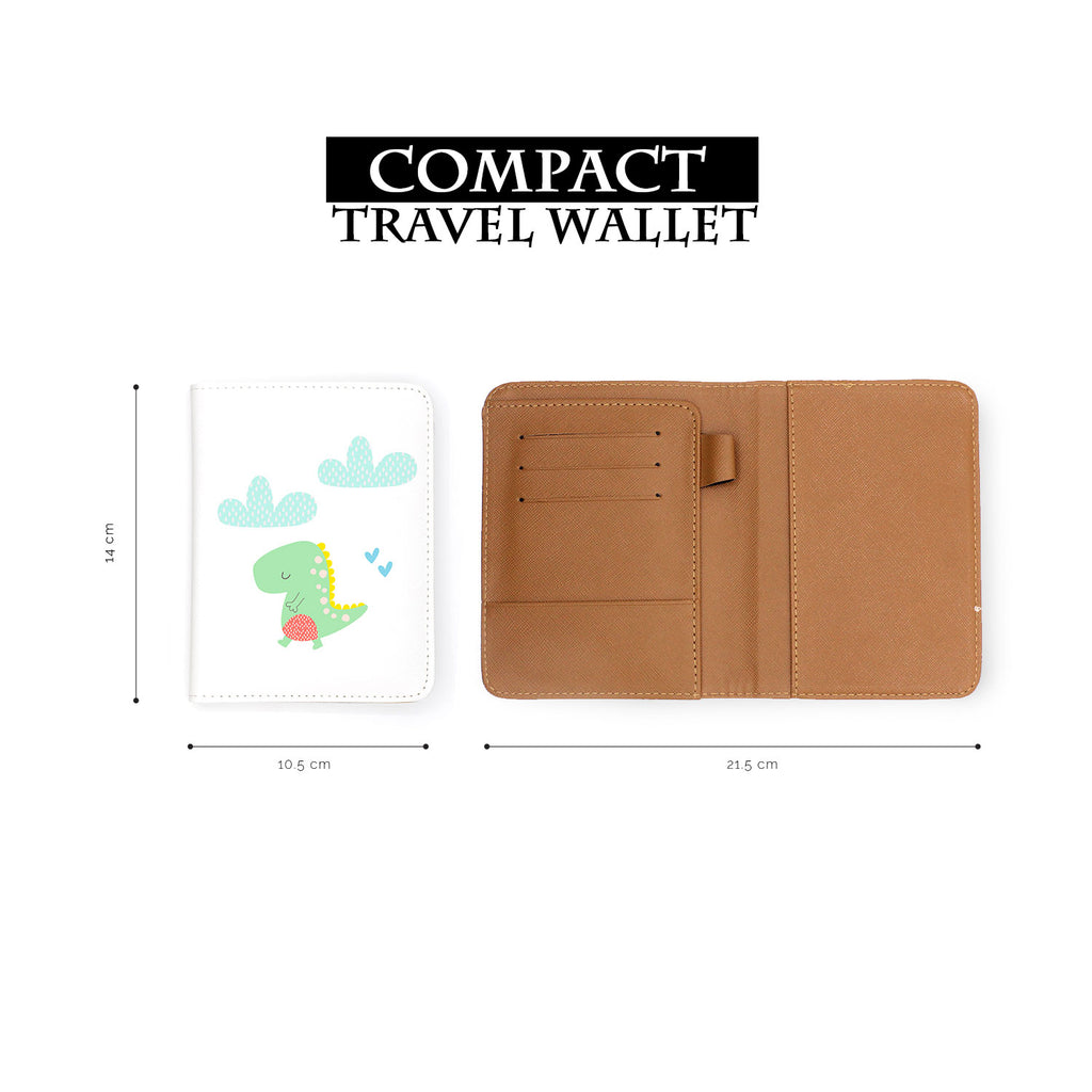 compact size of personalized RFID blocking passport travel wallet with Dino design