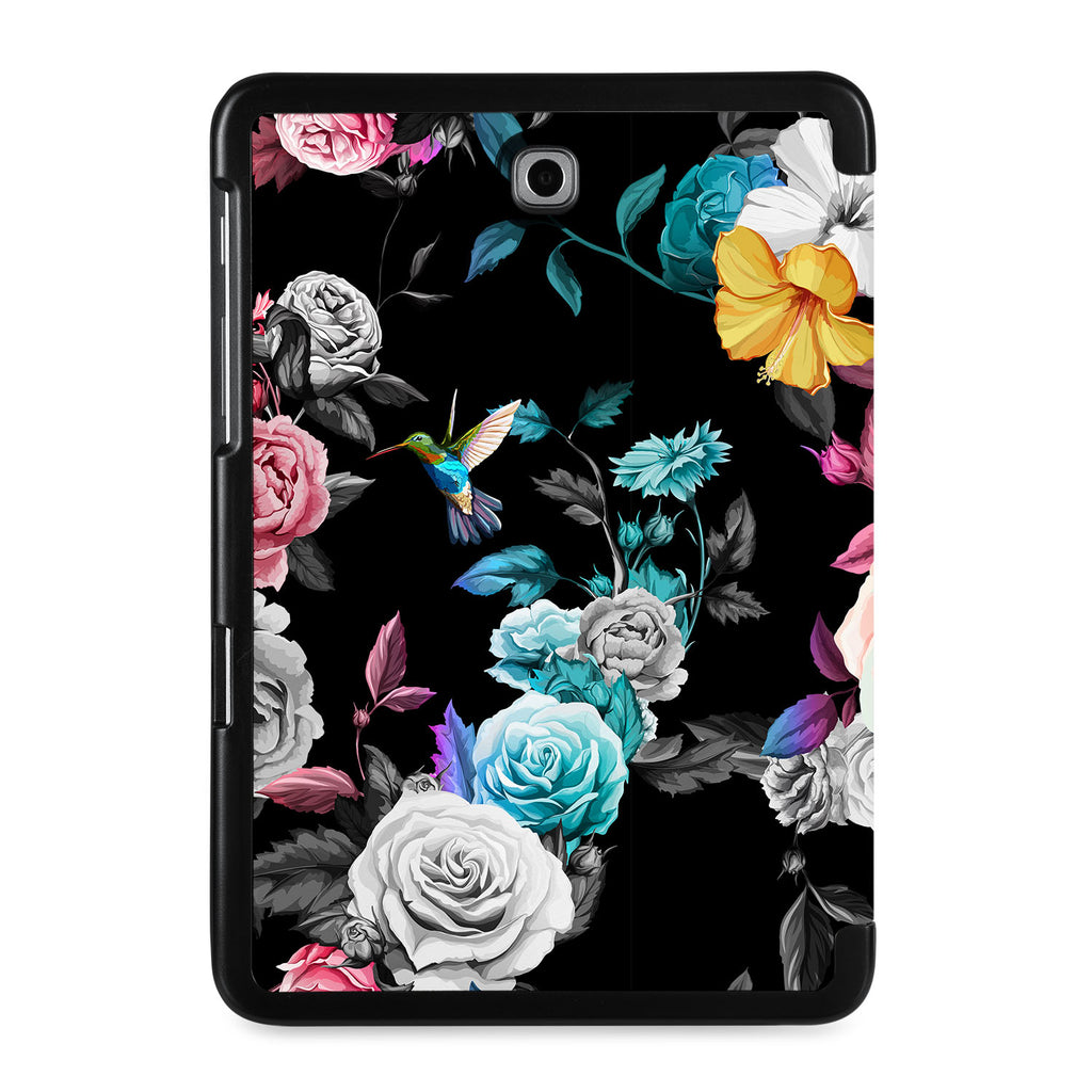 the back view of Personalized Samsung Galaxy Tab Case with Black Flower design