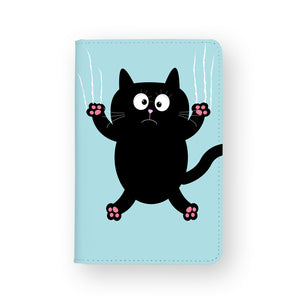 front view of personalized RFID blocking passport travel wallet with Cat Kitty design