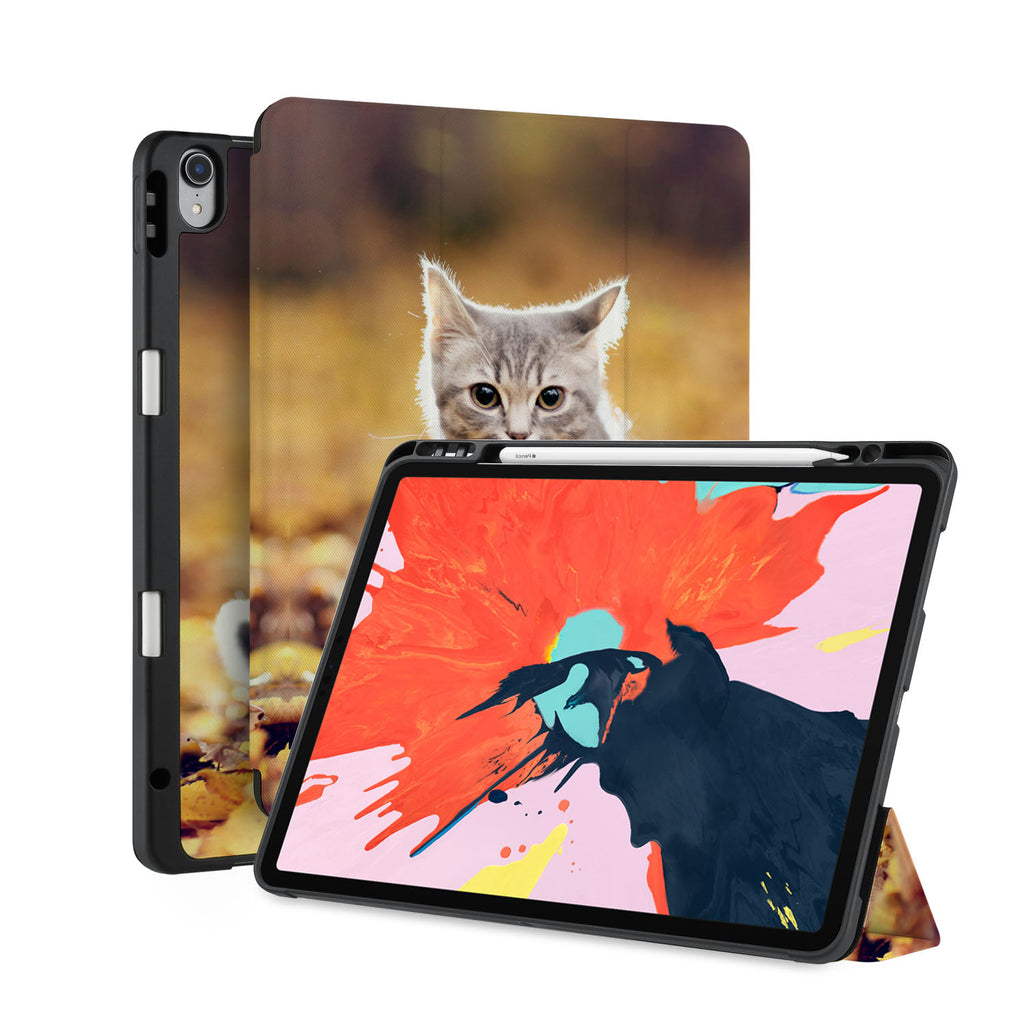 front back and stand view of personalized iPad case with pencil holder and Cat design