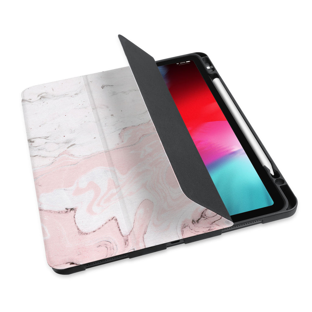 personalized iPad case with pencil holder and Pink Marble design - swap