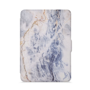 front view of personalized kindle paperwhite case with Marble design - swap