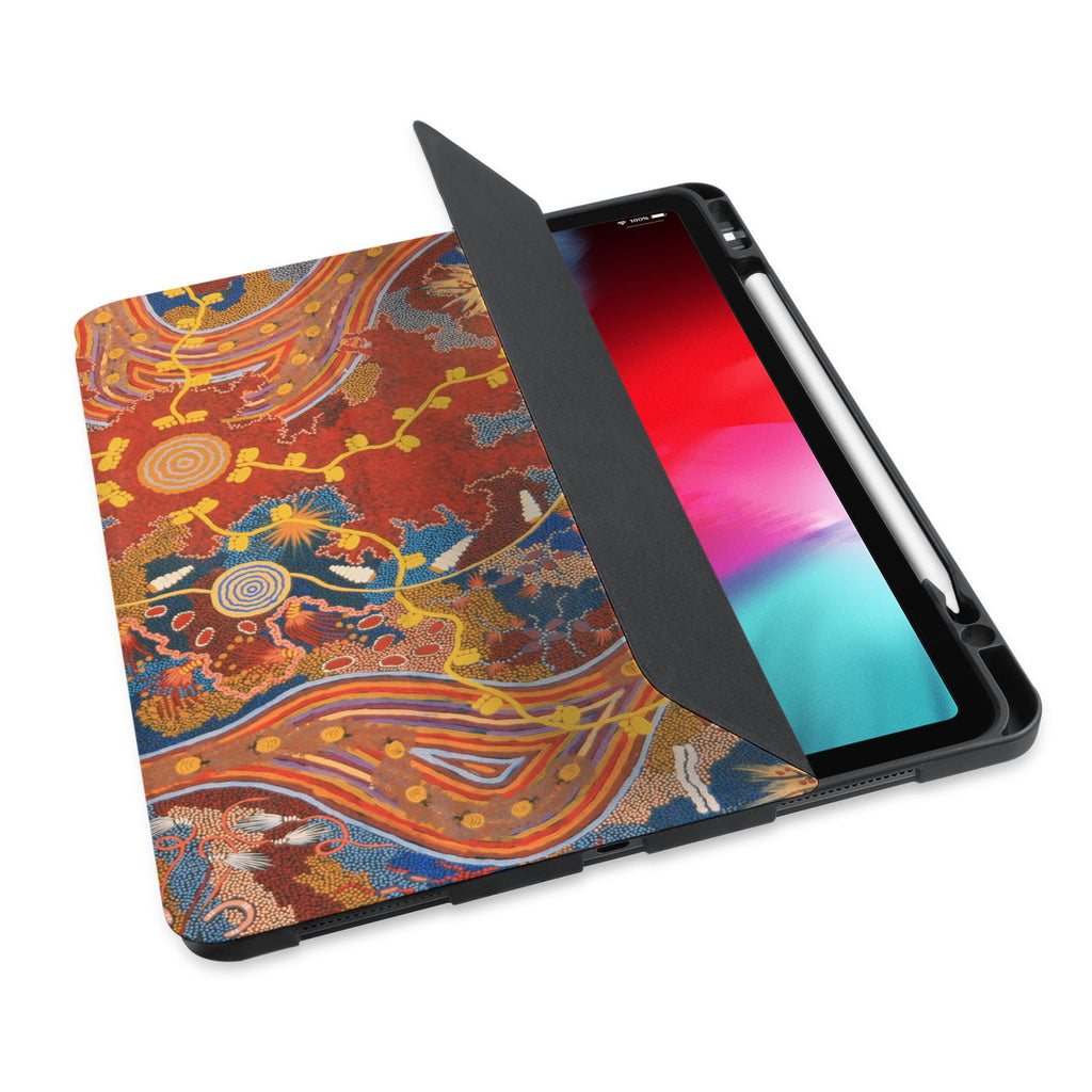 personalized iPad case with pencil holder and Acient Art design