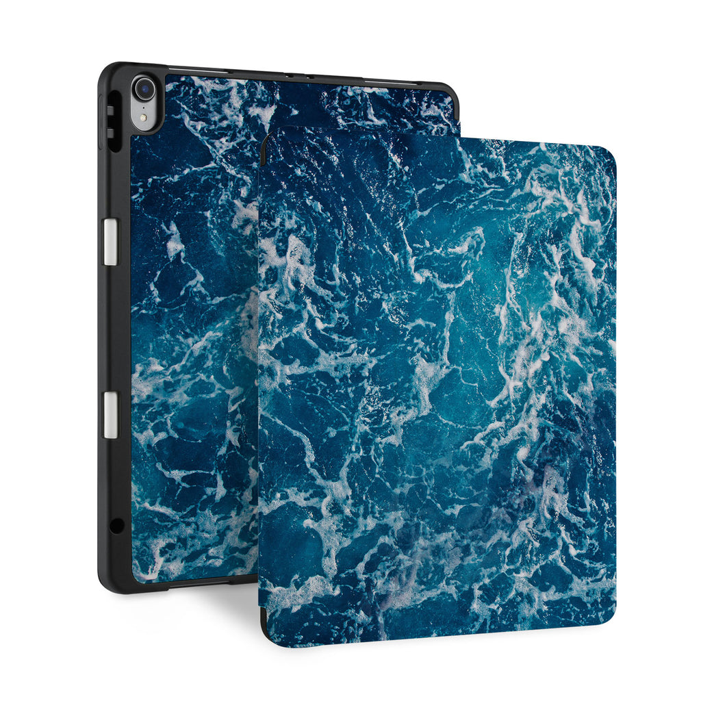 front back and stand view of personalized iPad case with pencil holder and Ocean design - swap