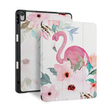 front back and stand view of personalized iPad case with pencil holder and Flamingo design - swap