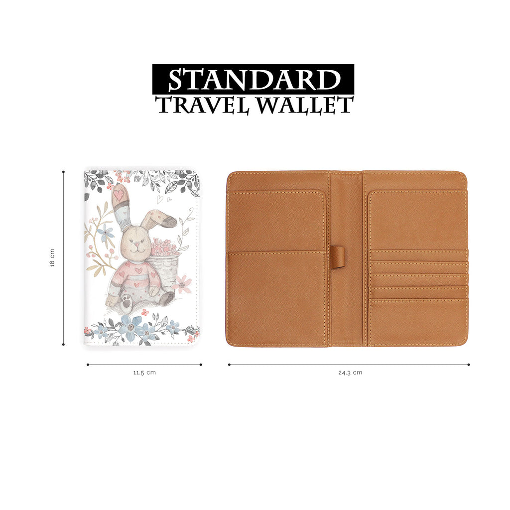 standard size of personalized RFID blocking passport travel wallet with Fairy Rabbits design