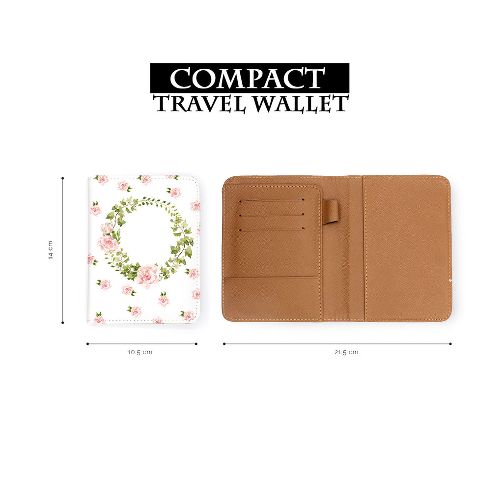 compact size of personalized RFID blocking passport travel wallet with Lush Flowers design