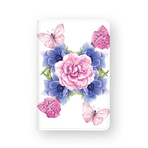 front view of personalized RFID blocking passport travel wallet with Summer Bloom design