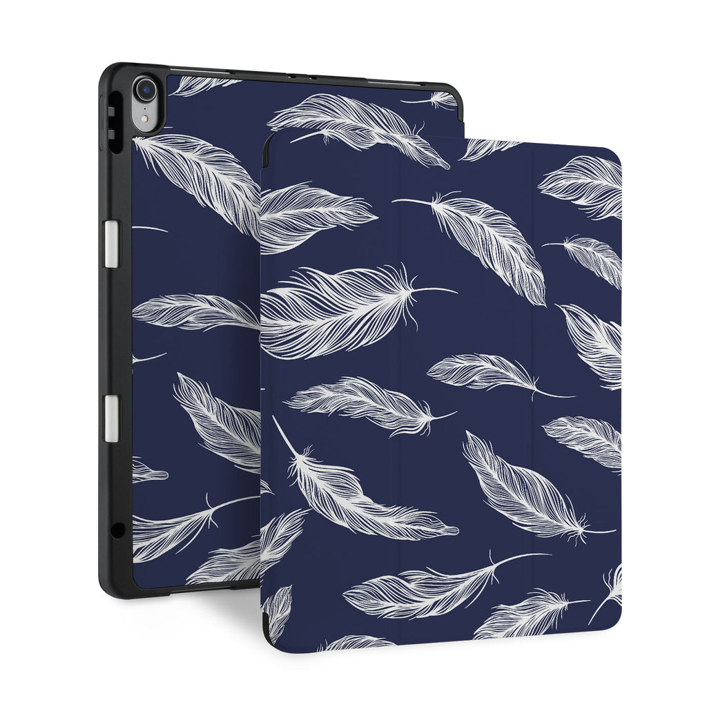 front back and stand view of personalized iPad case with pencil holder and Feather design - swap