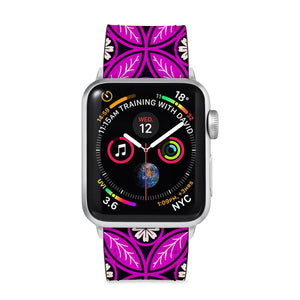 Our Printed Leather Apple Watch Band with Moroccan Pink Pattern design are made of water- and scratch-resistant saffiano leather because we know you wear your apple watch every, single, day. - swap