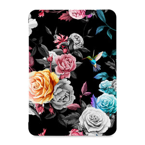 the front view of Personalized Samsung Galaxy Tab Case with Black Flower design