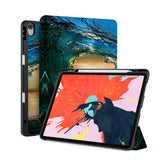 front back and stand view of personalized iPad case with pencil holder and Sunrise design