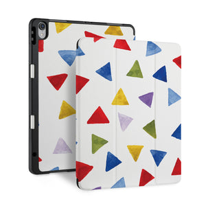 front back and stand view of personalized iPad case with pencil holder and Geometry Pattern design - swap