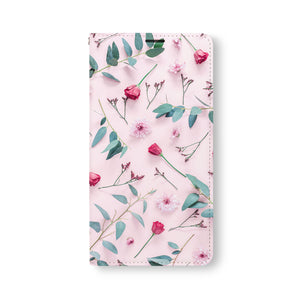 Front Side of Personalized Samsung Galaxy Wallet Case with PinkFlower design