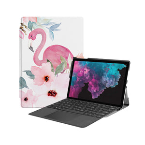 the Hero Image of Personalized Microsoft Surface Pro and Go Case with Flamingo design
