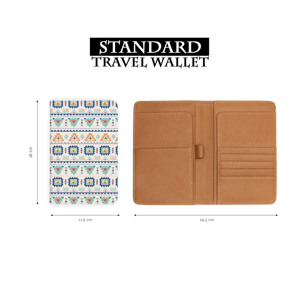 standard size of personalized RFID blocking passport travel wallet with Tribal Patterns design