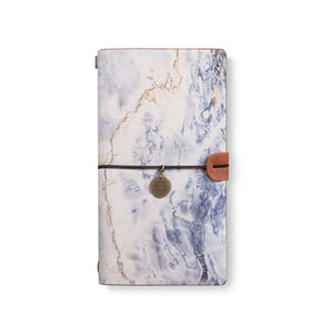 the front top view of midori style traveler's notebook with Marble design