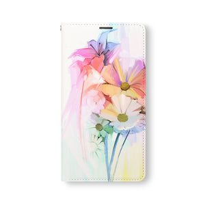 Front Side of Personalized Samsung Galaxy Wallet Case with WatercolorFlower2 design