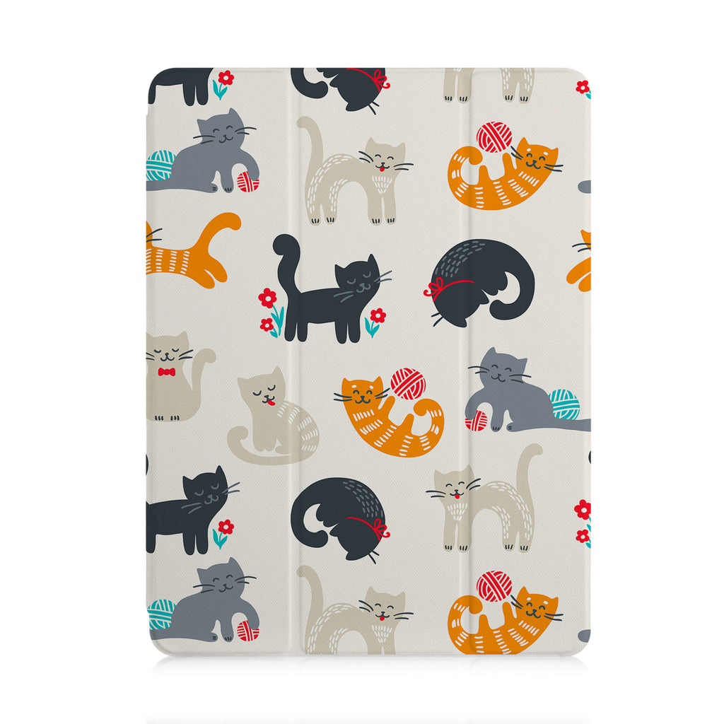 front view of personalized iPad case with pencil holder and Animals Lover design