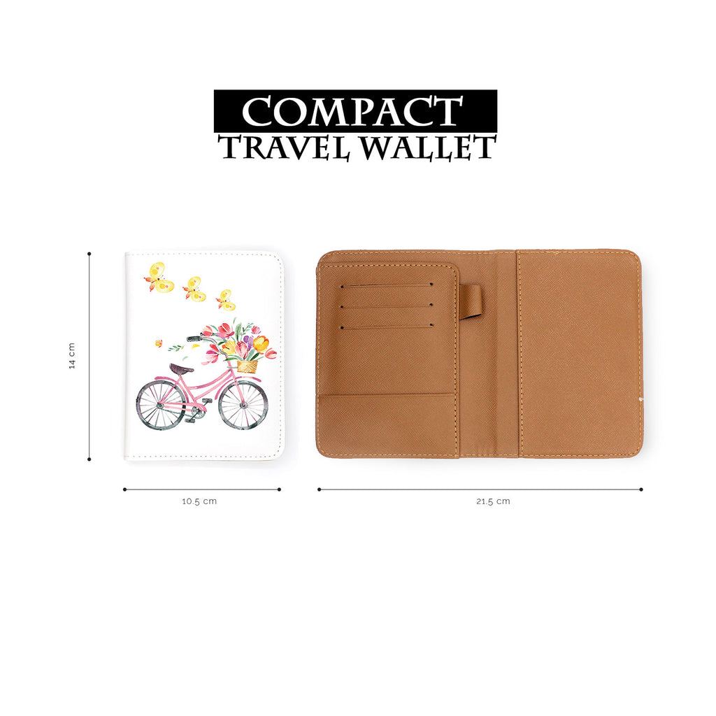 compact size of personalized RFID blocking passport travel wallet with Springtime design