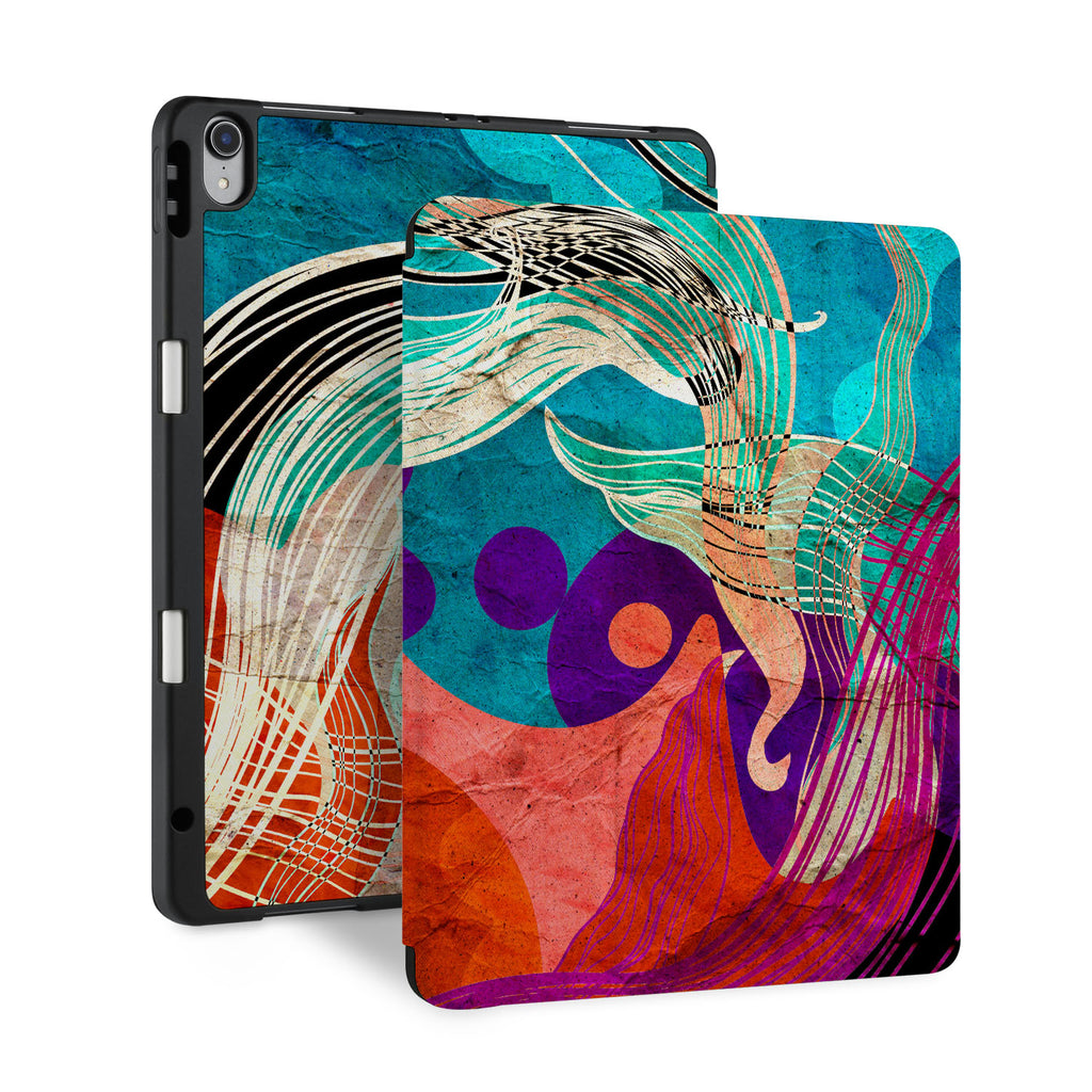 front and back view of personalized iPad case with pencil holder and Ukiyoe design