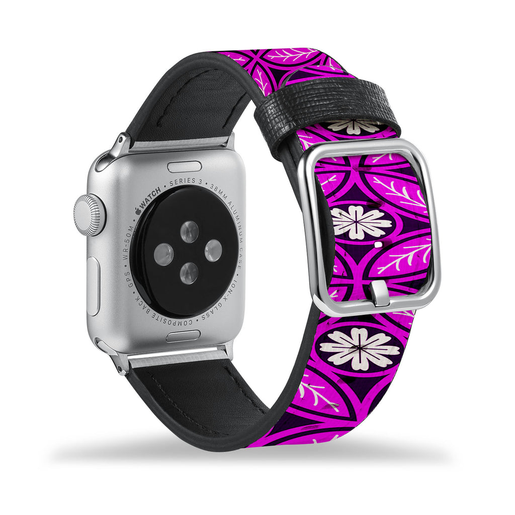 Printed Leather Apple Watch Band with Moroccan Pink Pattern design Like all Apple Watch bands, you can match this band with any Apple Watch case of the same size