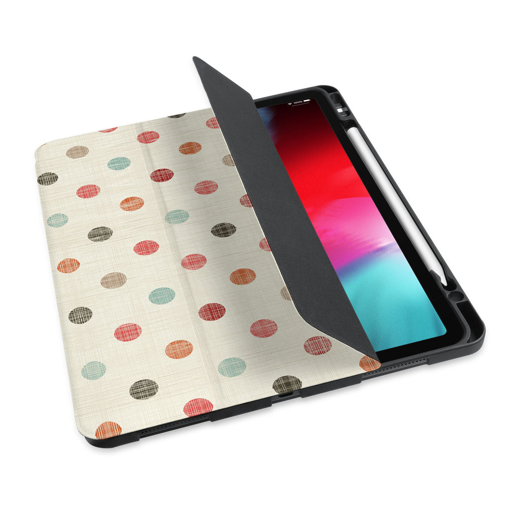 personalized iPad case with pencil holder and Faded Fabric design