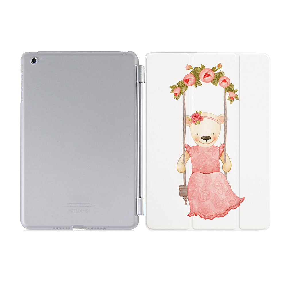 free hard back case cover with personalized iPad case smart cover with Charming Bear design