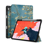 front back and stand view of personalized iPad case with pencil holder and Oil Painting design