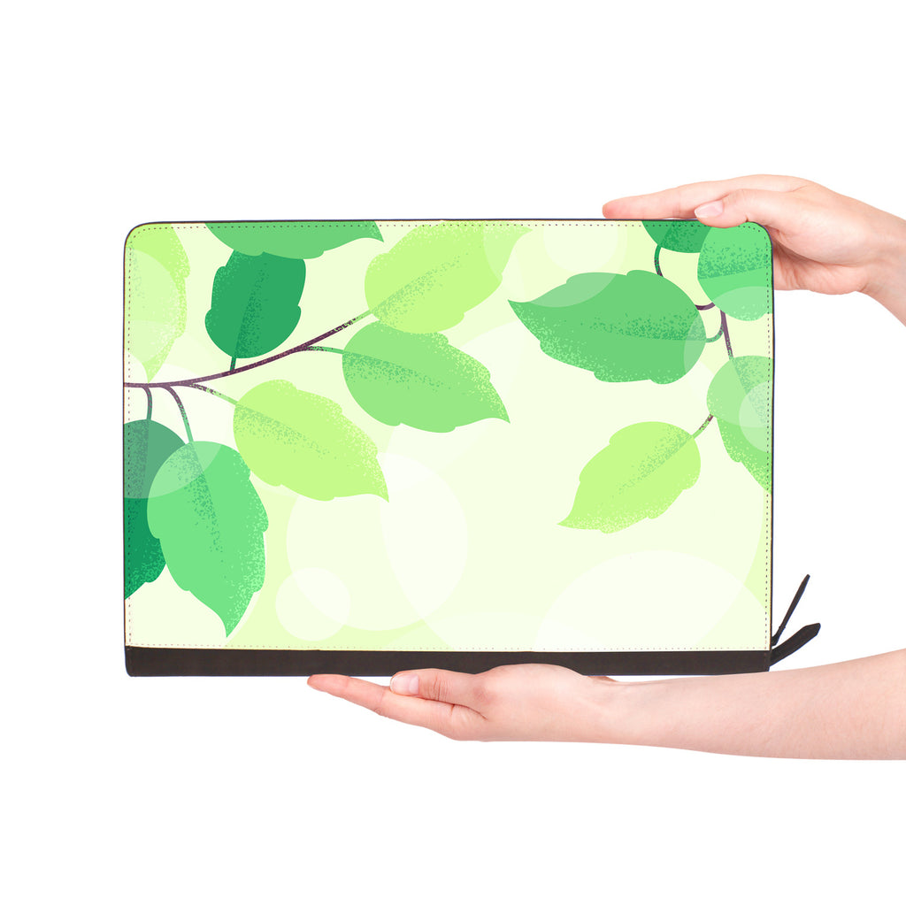 macbook air inside of personalized Macbook carry bag case with Leaves design