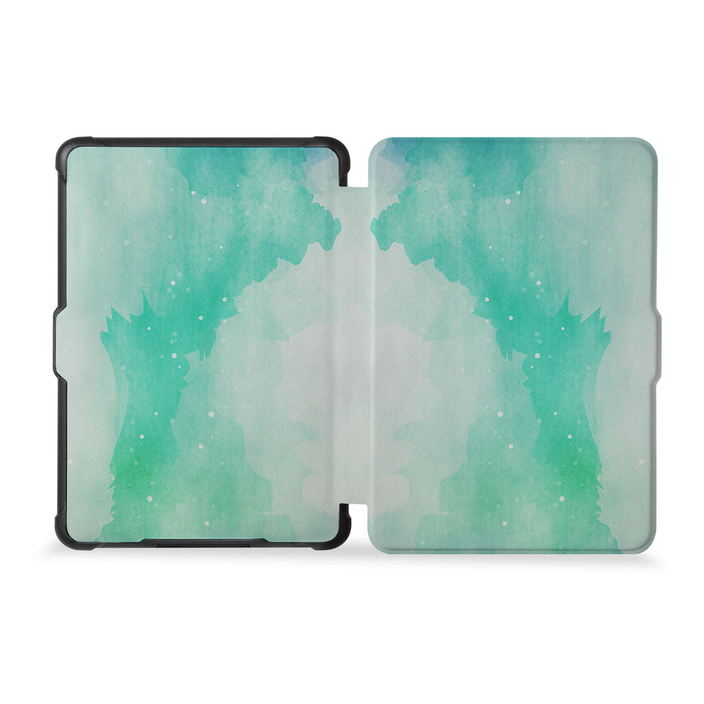 the whole front and back view of personalized kindle case paperwhite case with Abstract Watercolor Splash design
