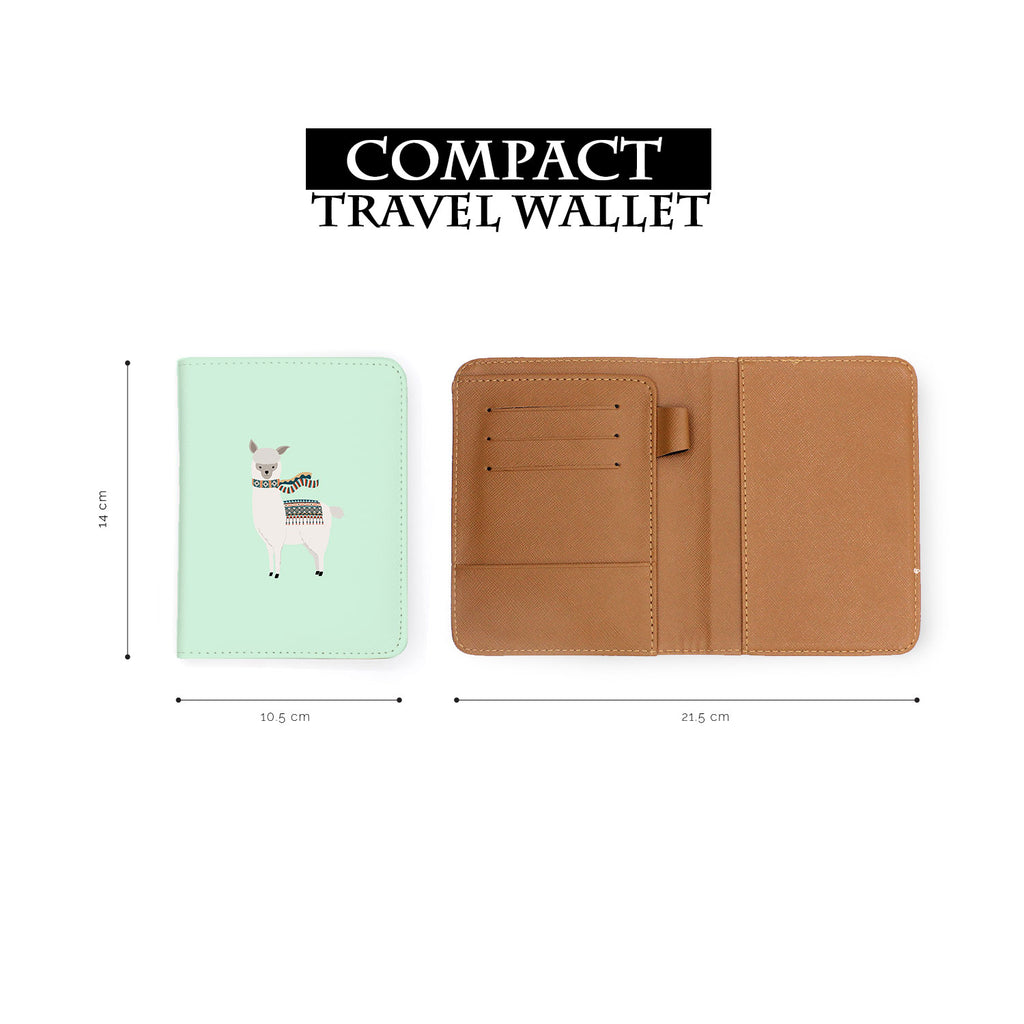 compact size of personalized RFID blocking passport travel wallet with Liama And Cactus design