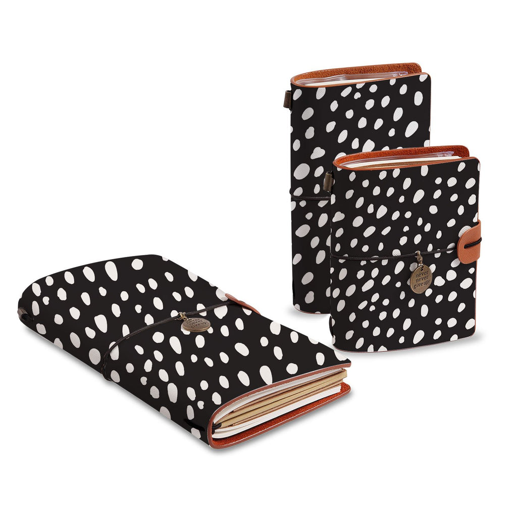 three size of midori style traveler's notebooks with Polka Dot design