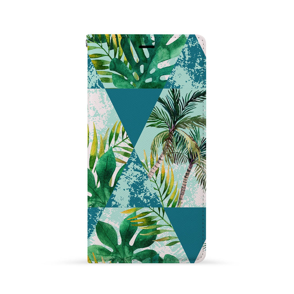Front Side of Personalized Huawei Wallet Case with Geometric Flower design