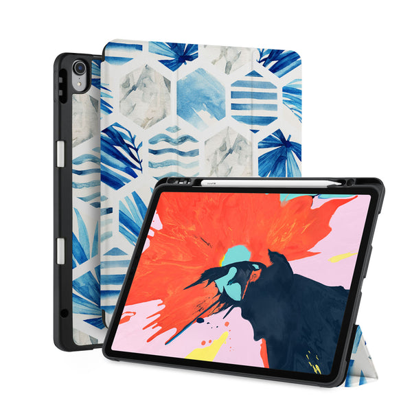 front back and stand view of personalized iPad case with pencil holder and Abstract design