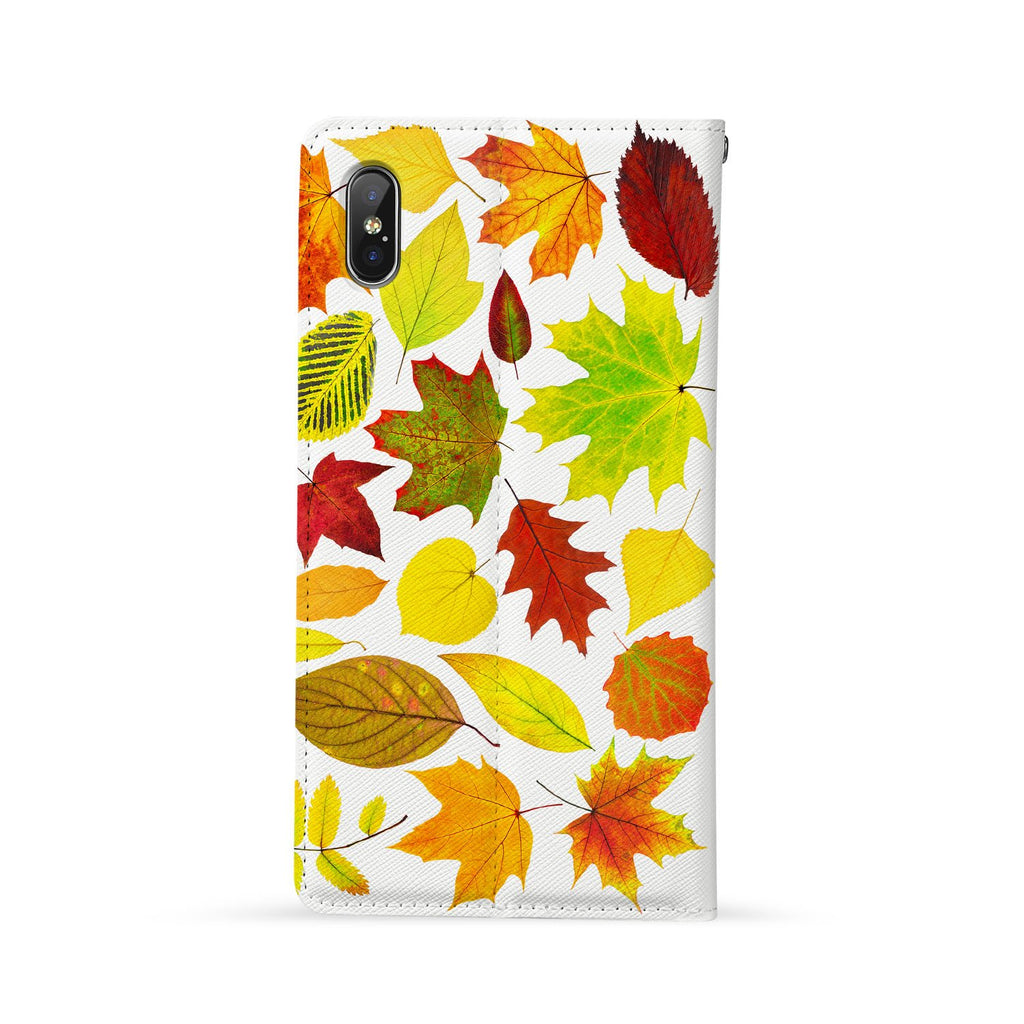 Back Side of Personalized Huawei Wallet Case with Flat Leaves design - swap