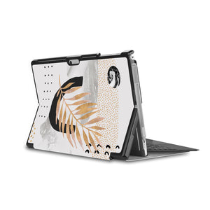 the back side of Personalized Microsoft Surface Pro and Go Case in Movie Stand View with Marble Flower design - swap