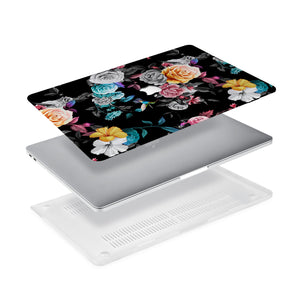 Ultra-thin and lightweight two-piece hardshell case with Black Flower design is easy to apply and remove - swap