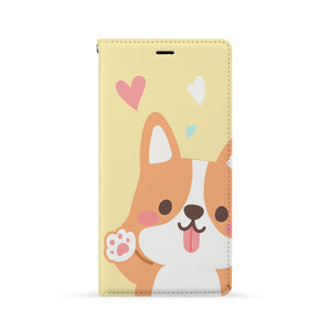 Front Side of Personalized iPhone Wallet Case with Corgi Puppy design