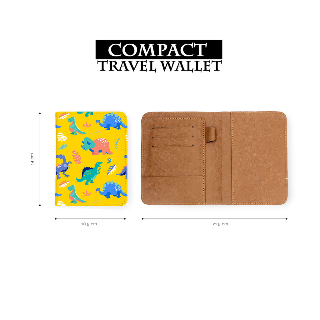 compact size of personalized RFID blocking passport travel wallet with Dinosour design