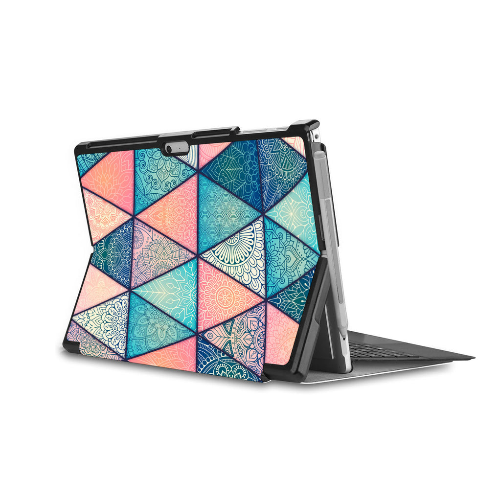 swap - the back side of Personalized Microsoft Surface Pro and Go Case in Movie Stand View with Aztec Tribal design