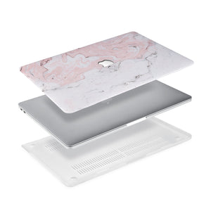 Ultra-thin and lightweight two-piece hardshell case with Pink Marble design is easy to apply and remove - swap