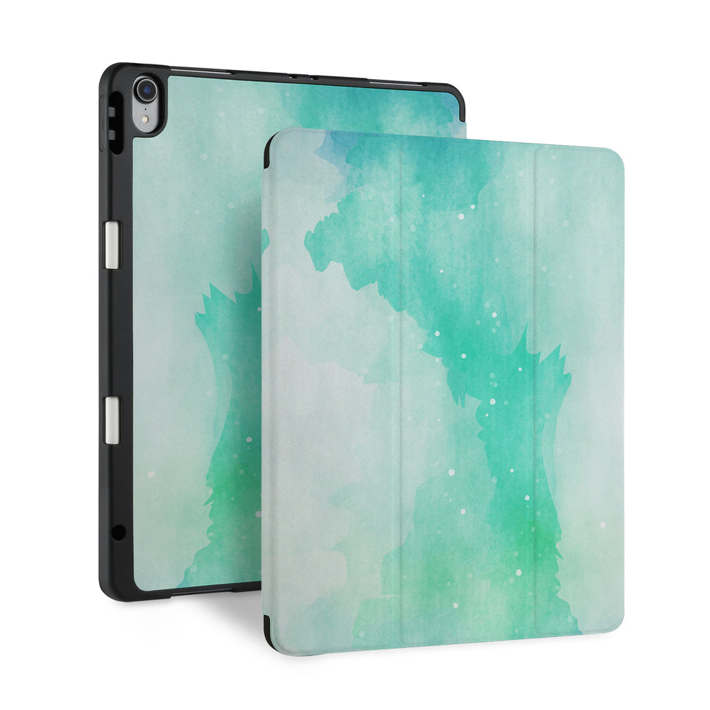 front back and stand view of personalized iPad case with pencil holder and Abstract Watercolor Splash design - swap