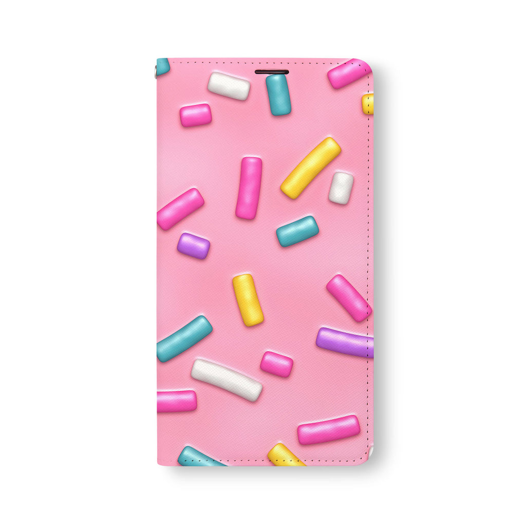 Front Side of Personalized Samsung Galaxy Wallet Case with Candy design