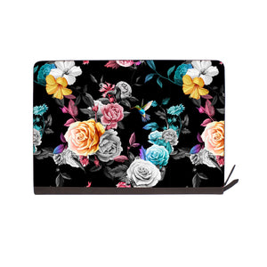 front view of personalized Macbook carry bag case with Black Flower design