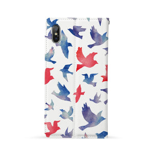 Back Side of Personalized Huawei Wallet Case with Bird design - swap