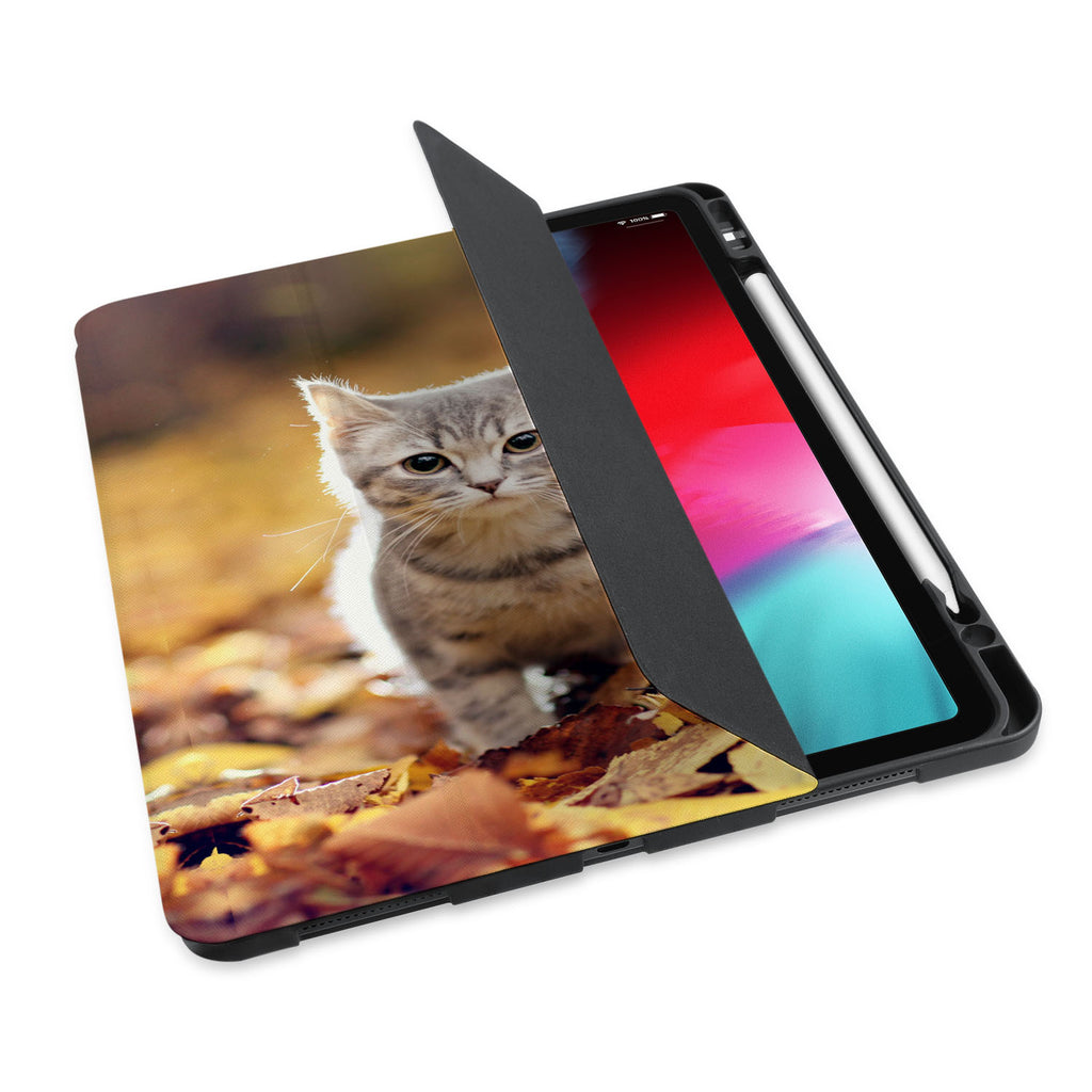 personalized iPad case with pencil holder and Cat design