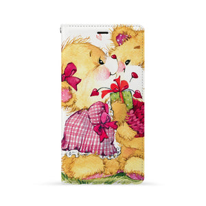 Front Side of Personalized Huawei Wallet Case with Cute Bear design