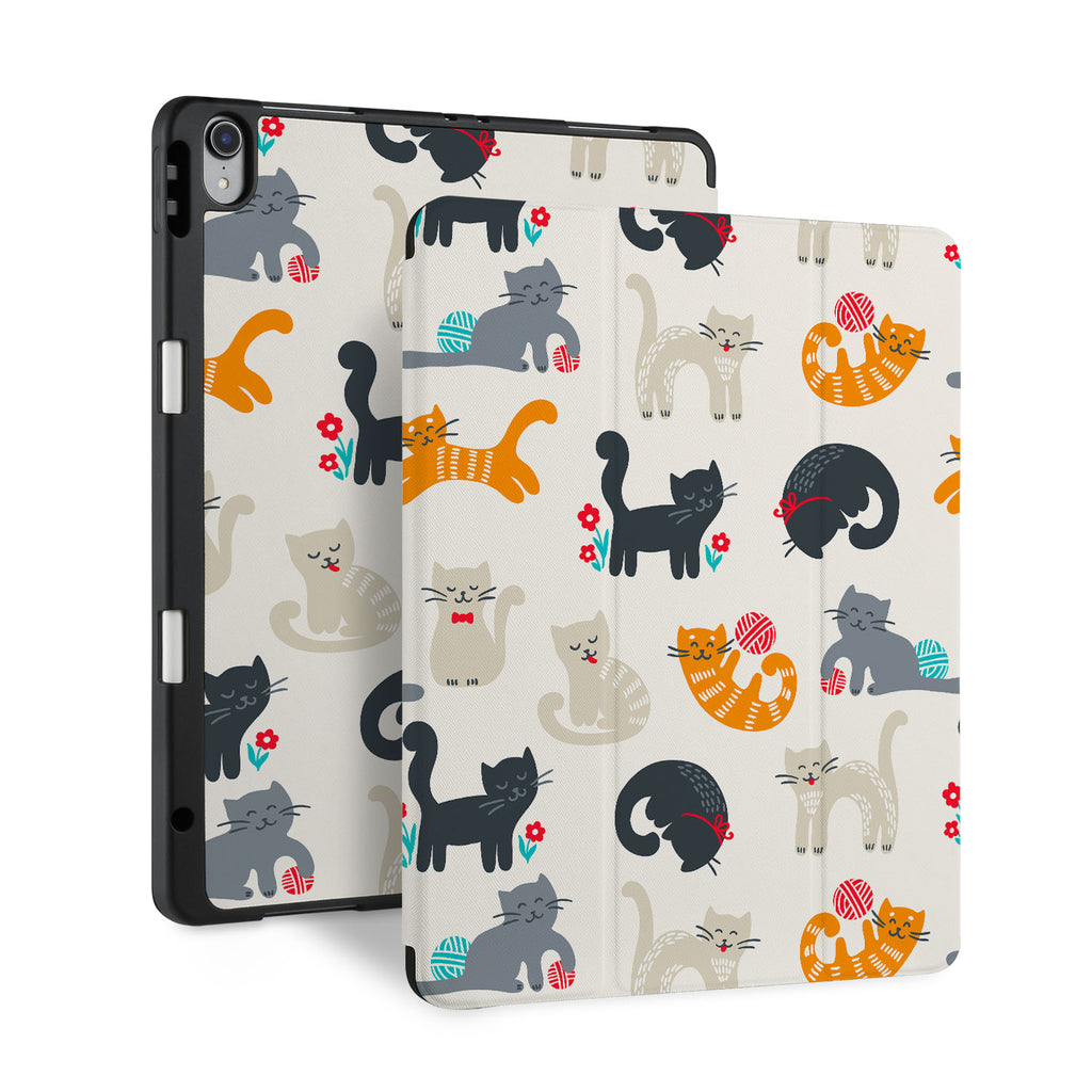 front and back view of personalized iPad case with pencil holder and Animals Lover design