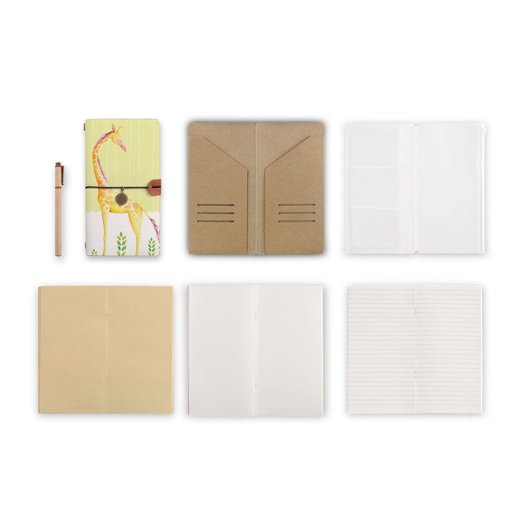 midori style traveler's notebook with Cute Animal 2 design, refills and accessories